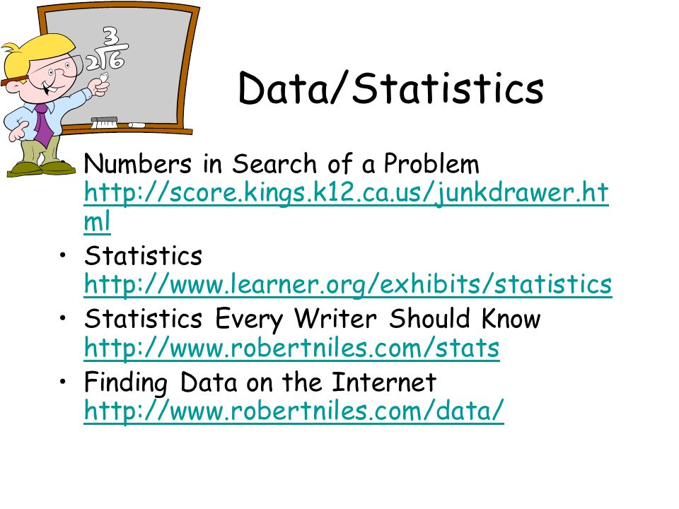 Data/Statistics Numbers in Search of a Problem http://score.kings.k12.ca.us/junkdrawer.ht ml http://score.kings.k12.ca.us/junkdrawer.ht ml Statistics http://www.learner.org/exhibits/statistics http://www.learner.org/exhibits/statistics Statistics Every Writer Should Know http://www.robertniles.com/stats http://www.robertniles.com/stats Finding Data on the Internet http://www.robertniles.com/data/ http://www.robertniles.com/data/