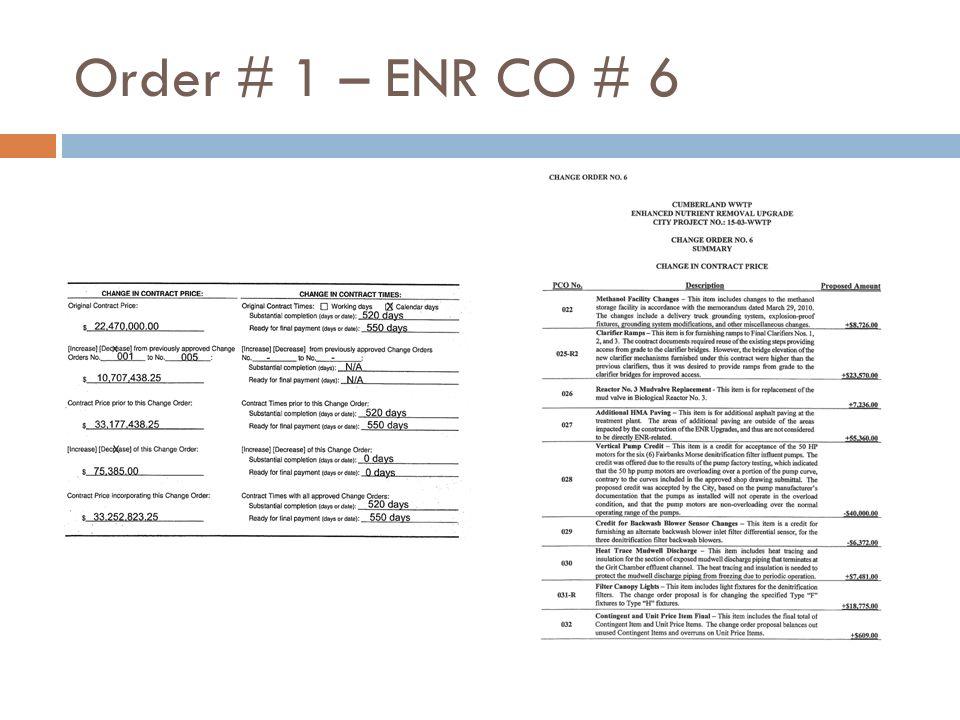Order # 1 – ENR CO # 6