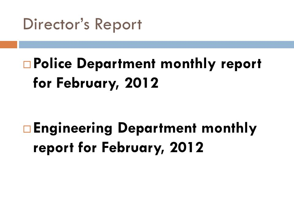 Directors Report Police Department monthly report for February, 2012 Engineering Department monthly report for February, 2012