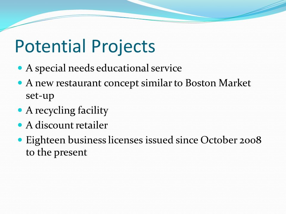 Potential Projects A special needs educational service A new restaurant concept similar to Boston Market set-up A recycling facility A discount retailer Eighteen business licenses issued since October 2008 to the present