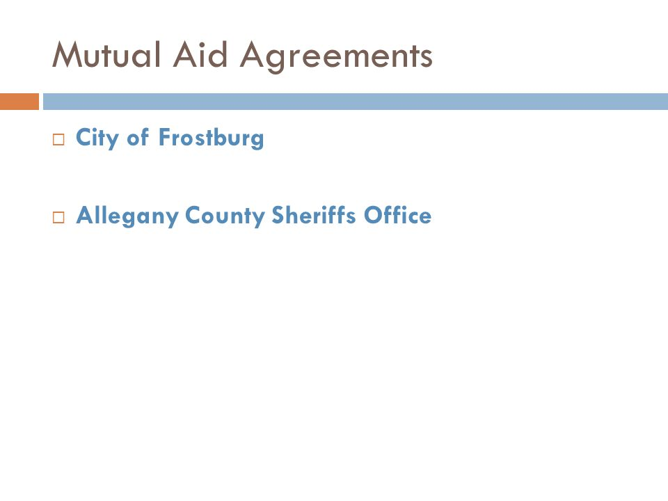 Mutual Aid Agreements City of Frostburg Allegany County Sheriffs Office
