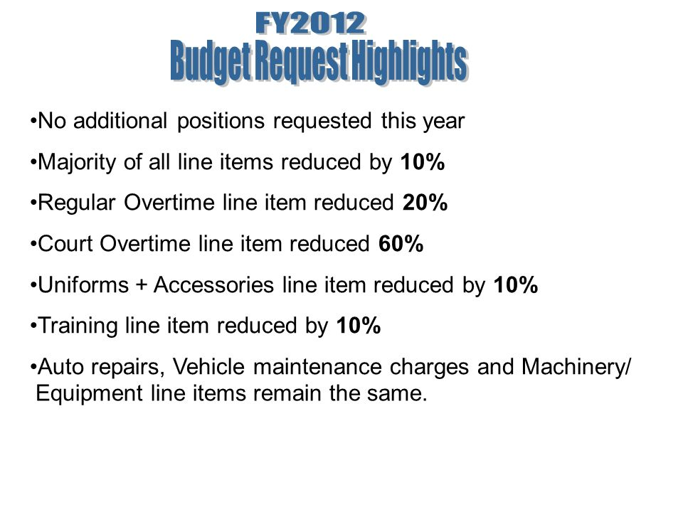 No additional positions requested this year Majority of all line items reduced by 10% Regular Overtime line item reduced 20% Court Overtime line item reduced 60% Uniforms + Accessories line item reduced by 10% Training line item reduced by 10% Auto repairs, Vehicle maintenance charges and Machinery/ Equipment line items remain the same.