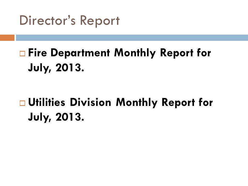 Directors Report Fire Department Monthly Report for July, 2013.