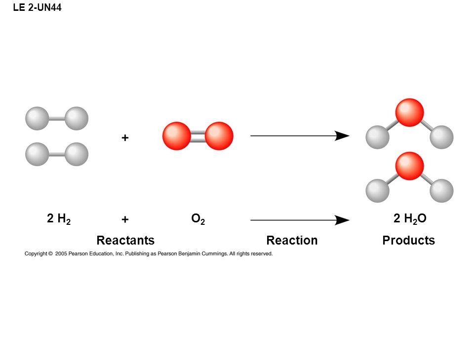 LE 2-UN44 ReactantsReactionProducts 2 H 2 OO2O2 2 H 2