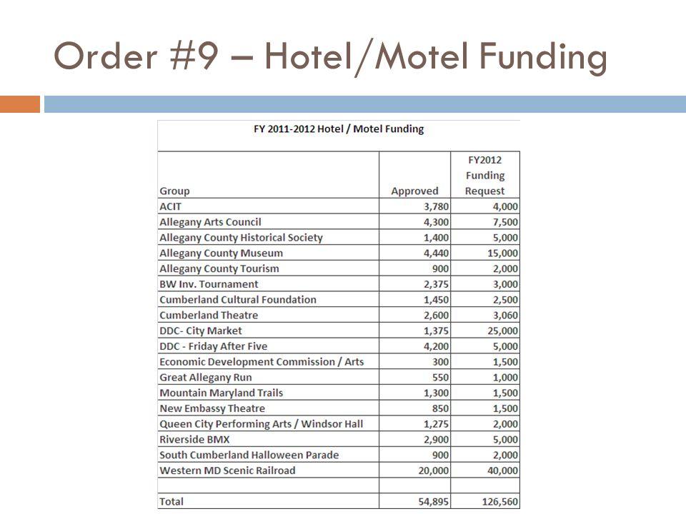 Order #9 – Hotel/Motel Funding