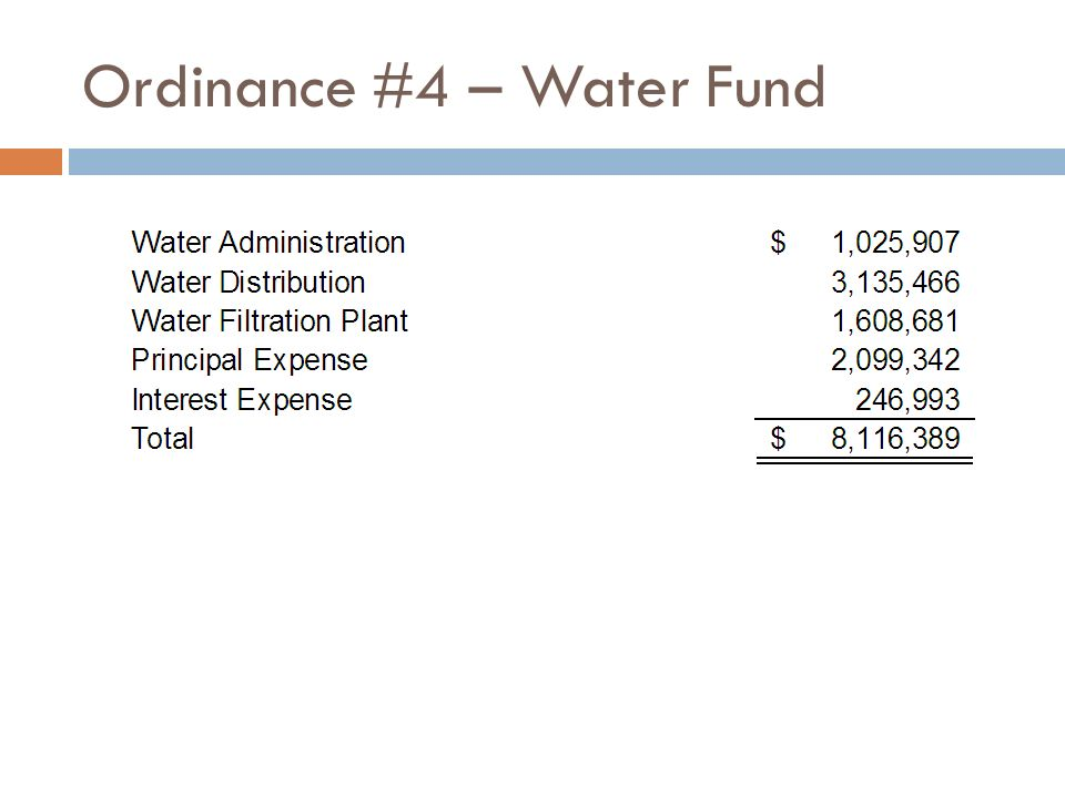 Ordinance #4 – Water Fund