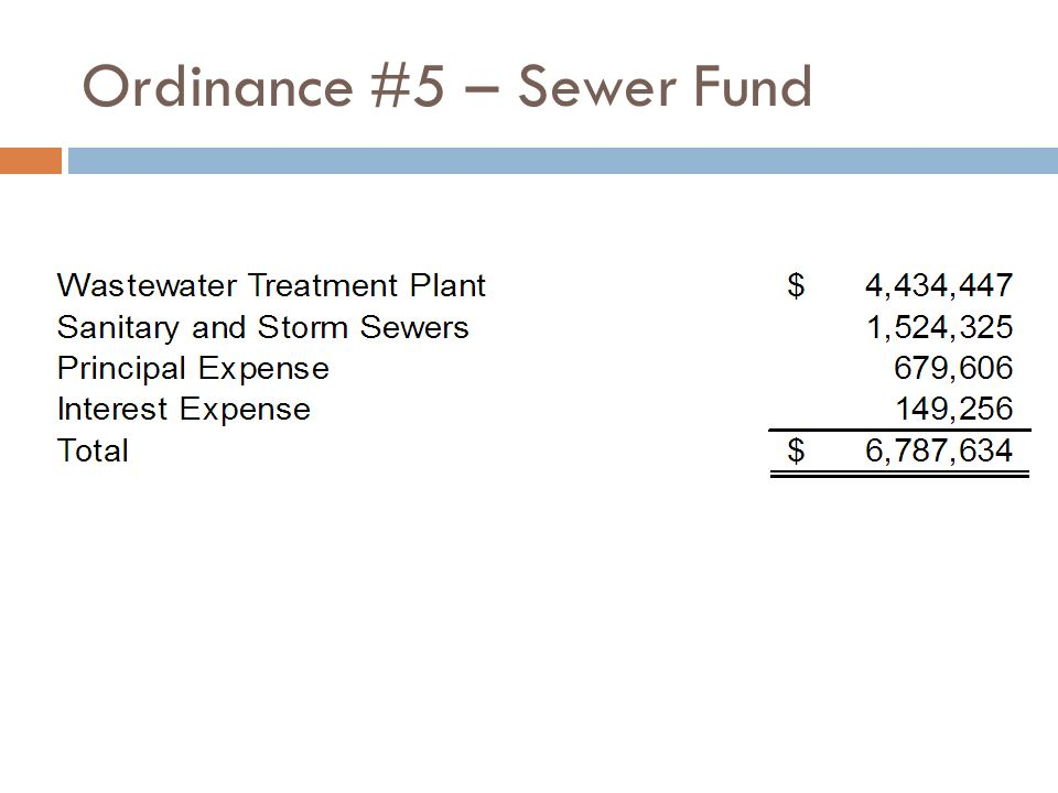 Ordinance #5 – Sewer Fund