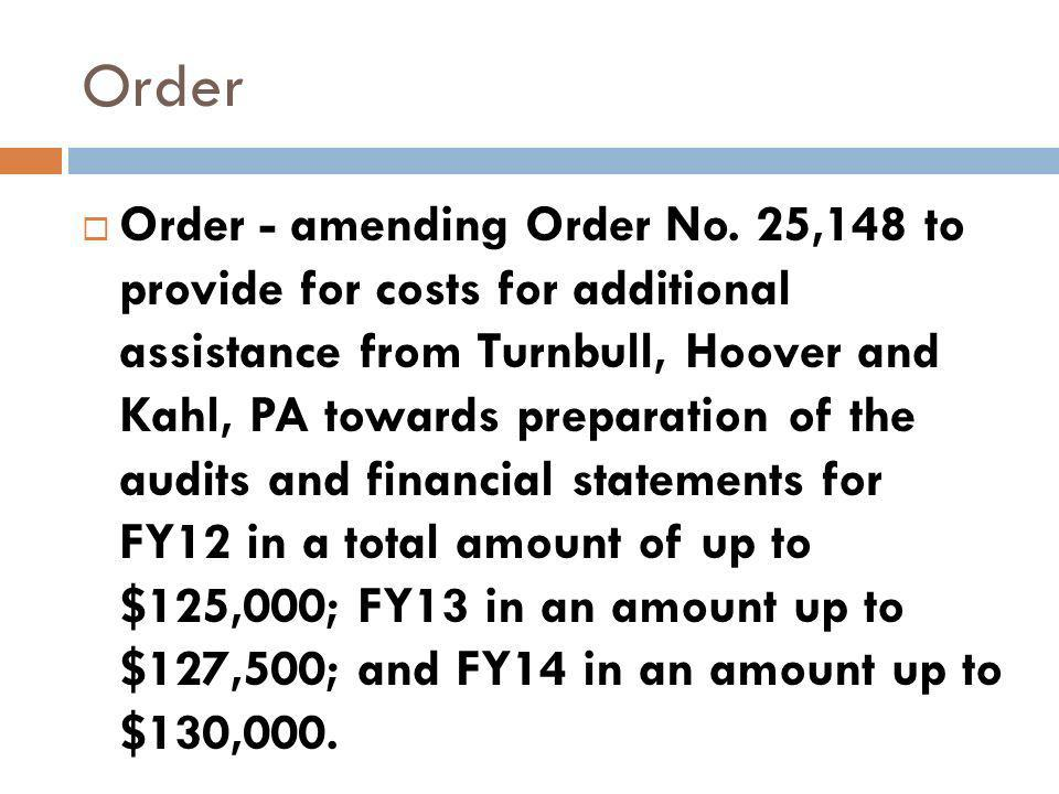 Order Order - amending Order No.