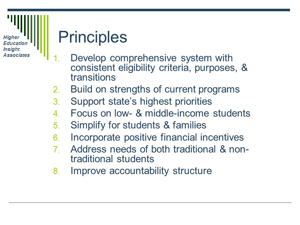 Higher Education Insight Associates Principles 1. Develop comprehensive system with consistent eligibility criteria, purposes, & transitions 2. Build