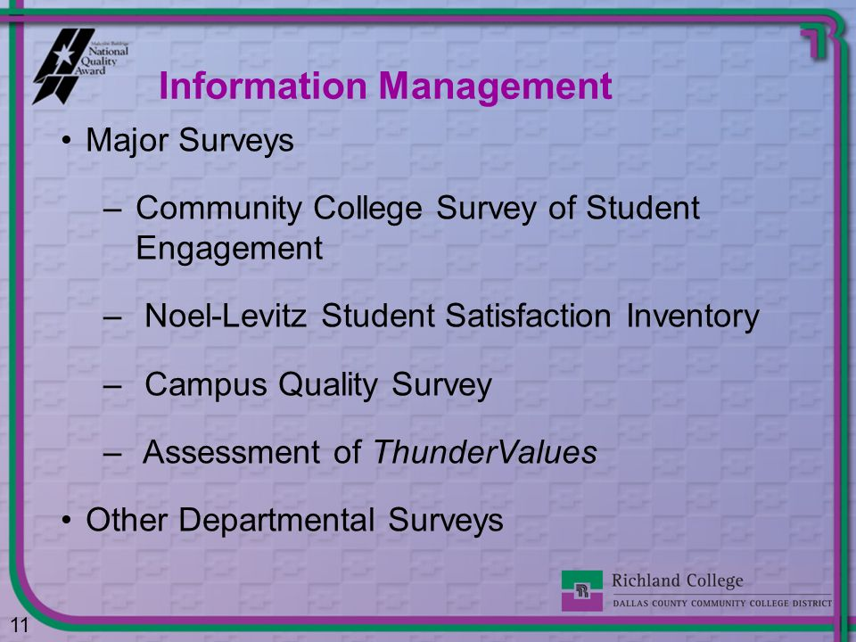 Major Surveys –Community College Survey of Student Engagement – Noel-Levitz Student Satisfaction Inventory – Campus Quality Survey – Assessment of Thu
