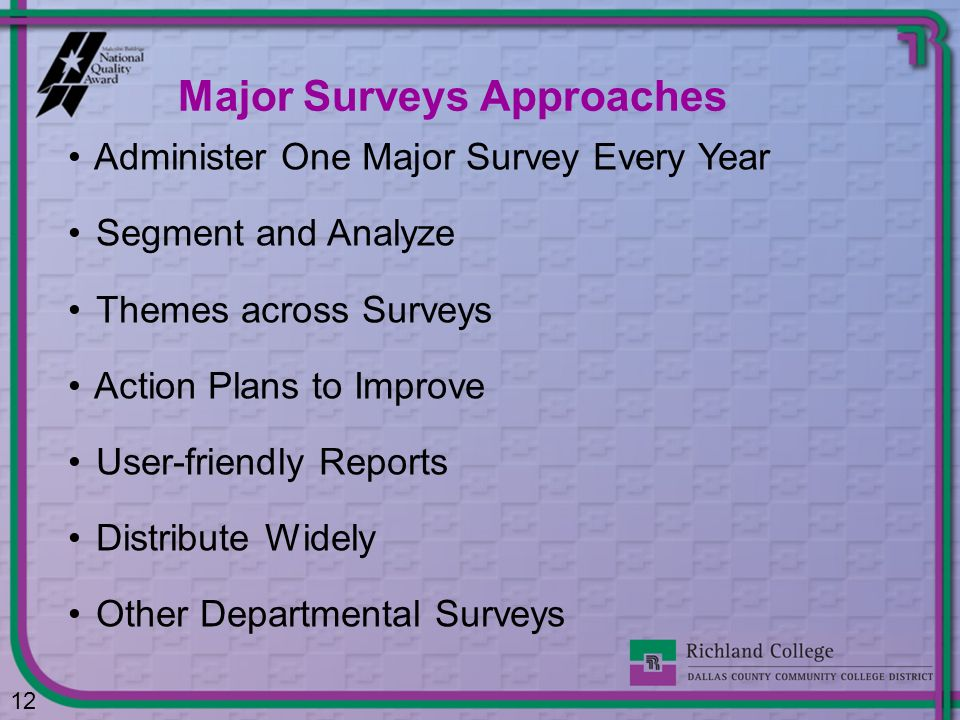 Administer One Major Survey Every Year Segment and Analyze Themes across Surveys Action Plans to Improve User-friendly Reports Distribute Widely Other