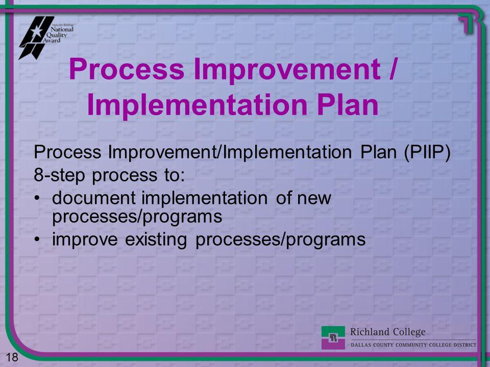 Process Improvement/Implementation Plan (PIIP) 8-step process to: document implementation of new processes/programs improve existing processes/program