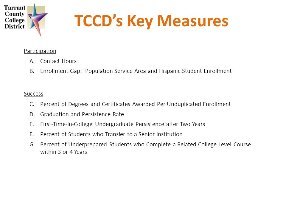 TCCDs Key Measures Participation A.Contact Hours B.Enrollment Gap: Population Service Area and Hispanic Student Enrollment Success C.Percent of Degrees and Certificates Awarded Per Unduplicated Enrollment D.Graduation and Persistence Rate E.First-Time-In-College Undergraduate Persistence after Two Years F.Percent of Students who Transfer to a Senior Institution G.Percent of Underprepared Students who Complete a Related College-Level Course within 3 or 4 Years