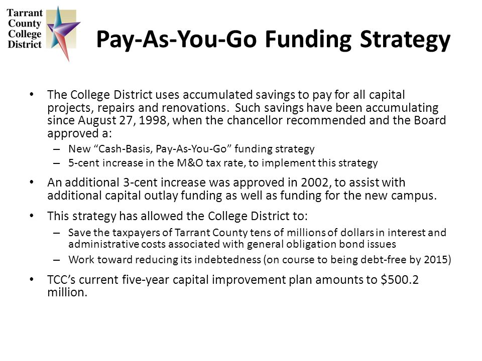 Pay-As-You-Go Funding Strategy The College District uses accumulated savings to pay for all capital projects, repairs and renovations.