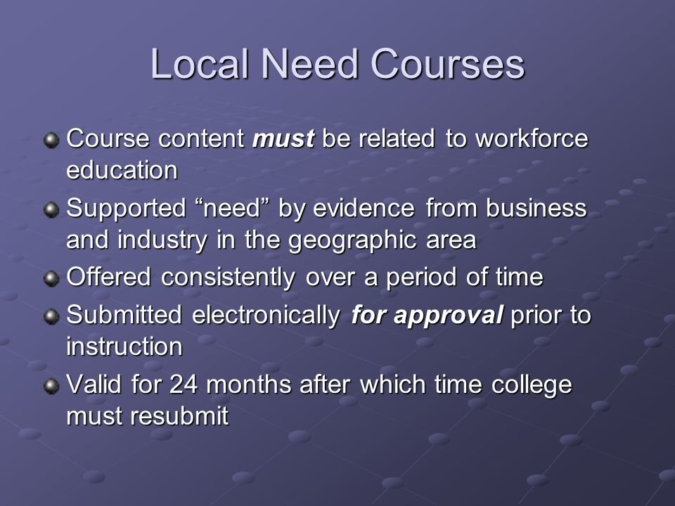 Revised WECM Course A course that has been modified since September of the current year to enhance course title, level, description, learning outcomes, reference information, recommended lab, and/or contact hours for increased usability.