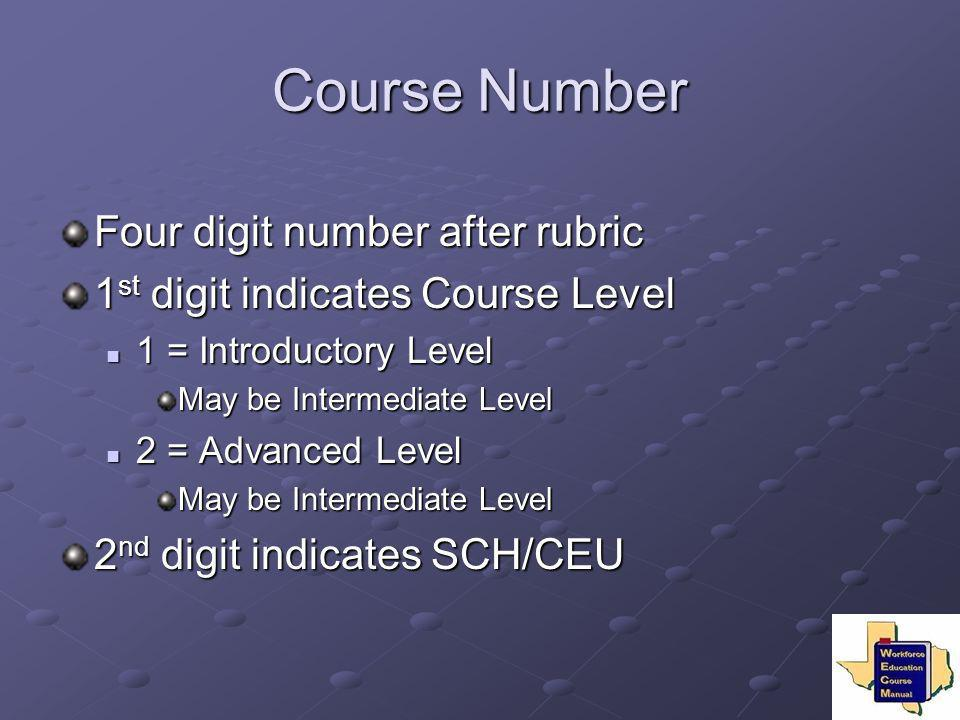 Course Number Four digit number after rubric 1 st digit indicates Course Level 1 = Introductory Level 1 = Introductory Level May be Intermediate Level