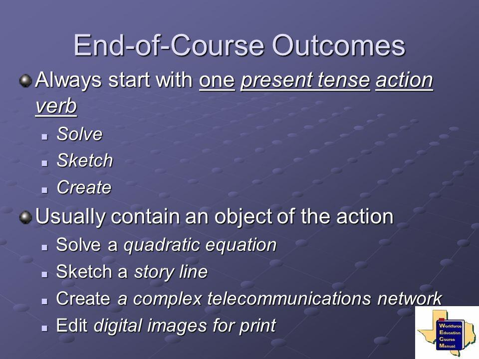 End-of-Course Outcomes Always start with one present tense action verb Solve Solve Sketch Sketch Create Create Usually contain an object of the action