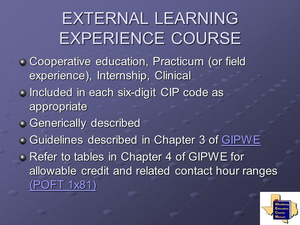 EXTERNAL LEARNING EXPERIENCE COURSE Cooperative education, Practicum (or field experience), Internship, Clinical Included in each six-digit CIP code a
