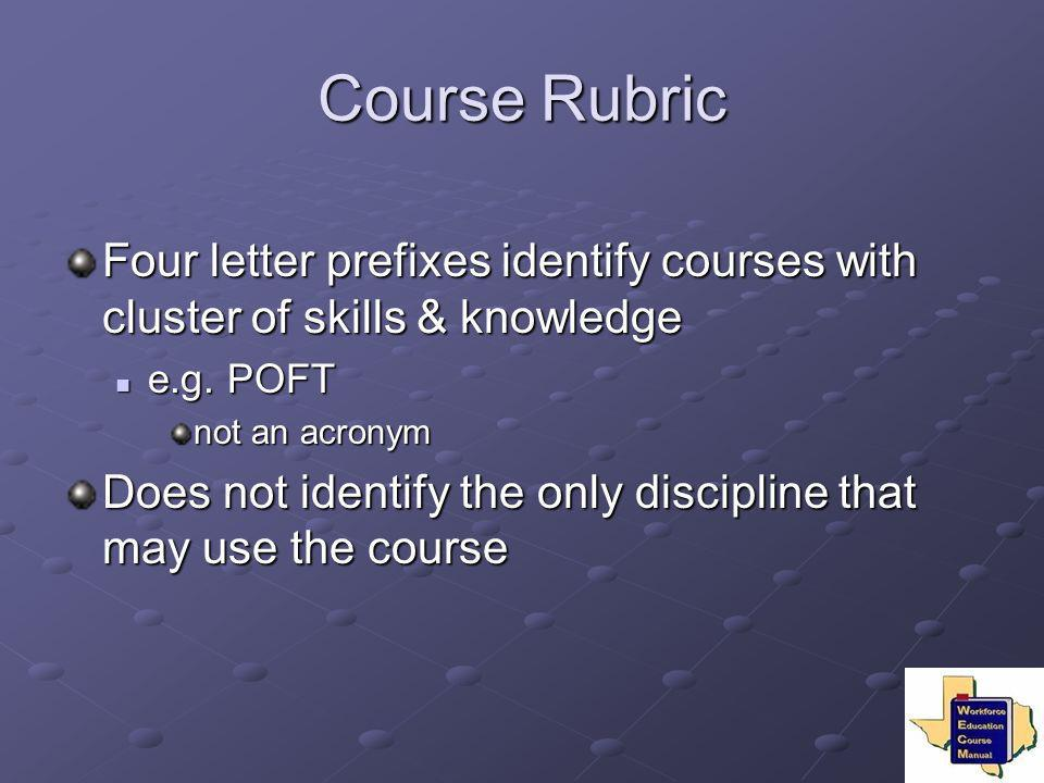 Course Rubric Four letter prefixes identify courses with cluster of skills & knowledge e.g. POFT e.g. POFT not an acronym Does not identify the only d