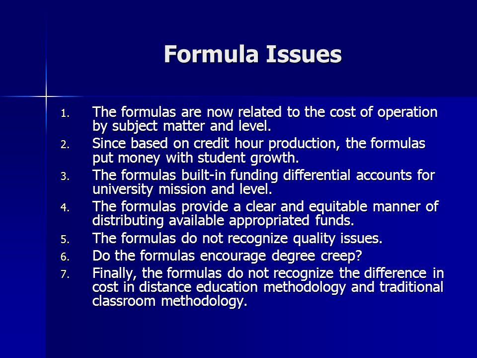 Formula Issues 1.