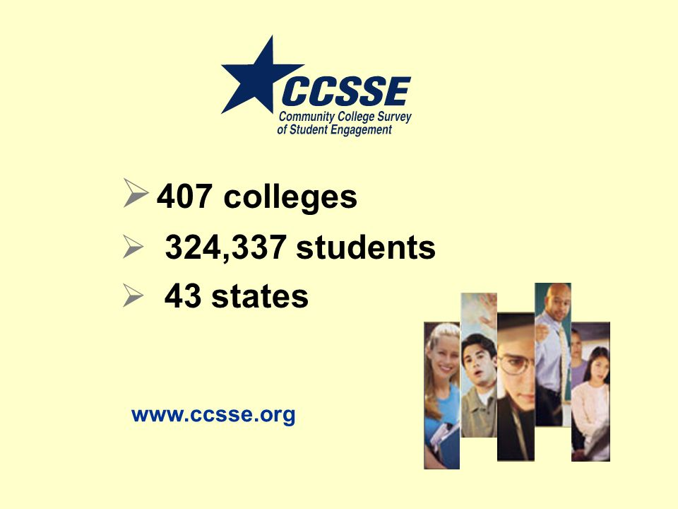 407 colleges 324,337 students 43 states www.ccsse.org