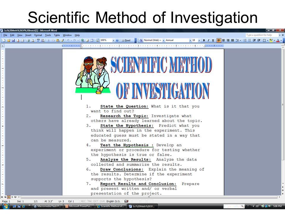 Scientific Method of Investigation