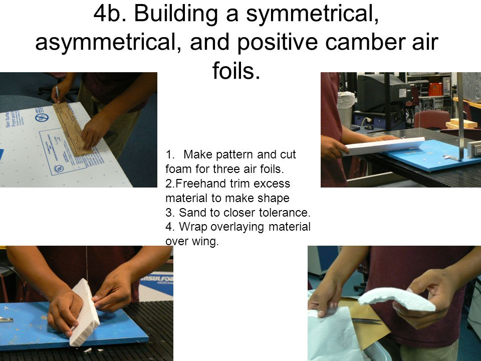4b. Building a symmetrical, asymmetrical, and positive camber air foils. 1.Make pattern and cut foam for three air foils. 2.Freehand trim excess mater
