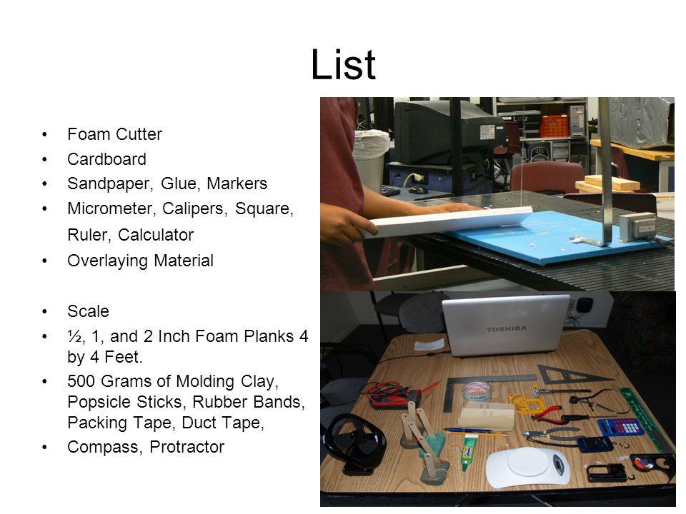 List Foam Cutter Cardboard Sandpaper, Glue, Markers Micrometer, Calipers, Square, Ruler, Calculator Overlaying Material Scale ½, 1, and 2 Inch Foam Pl