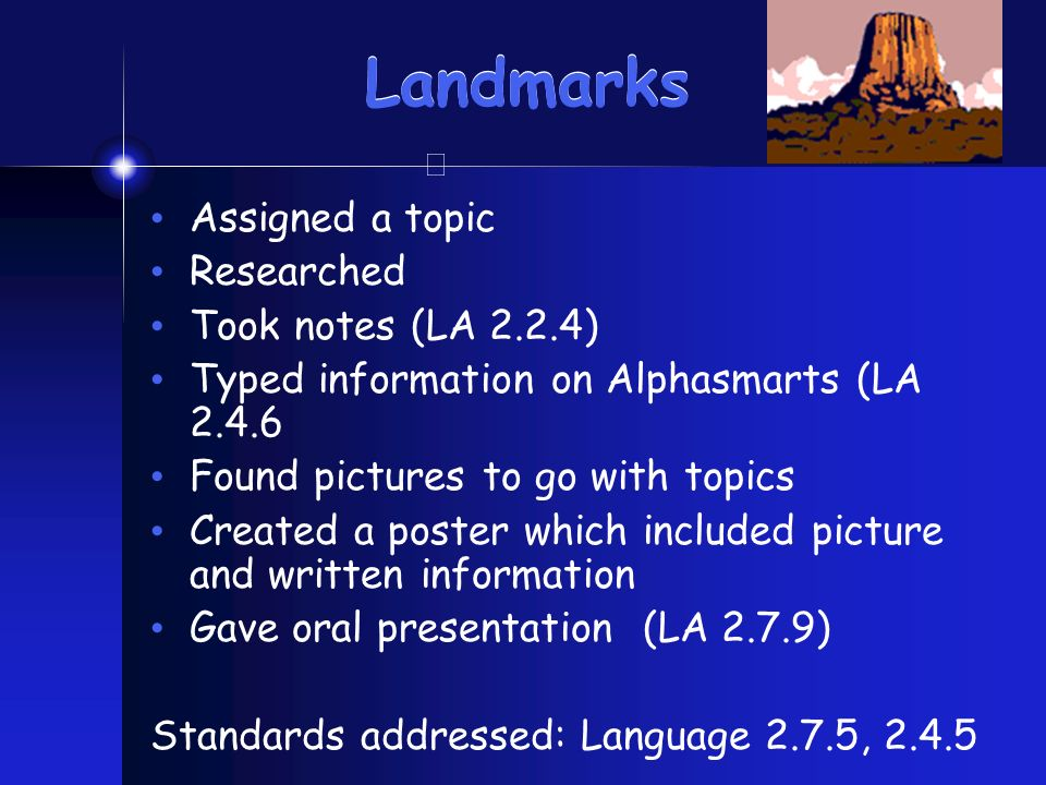 Landmarks Assigned a topic Researched Took notes (LA 2.2.4) Typed information on Alphasmarts (LA 2.4.6 Found pictures to go with topics Created a poster which included picture and written information Gave oral presentation (LA 2.7.9) Standards addressed: Language 2.7.5, 2.4.5