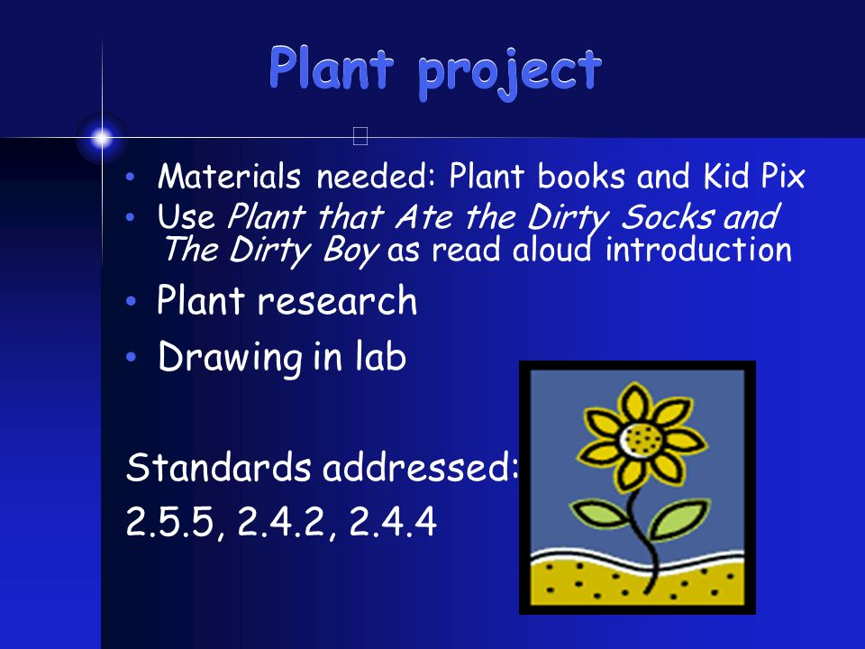Plant project Materials needed: Plant books and Kid Pix Use Plant that Ate the Dirty Socks and The Dirty Boy as read aloud introduction Plant research