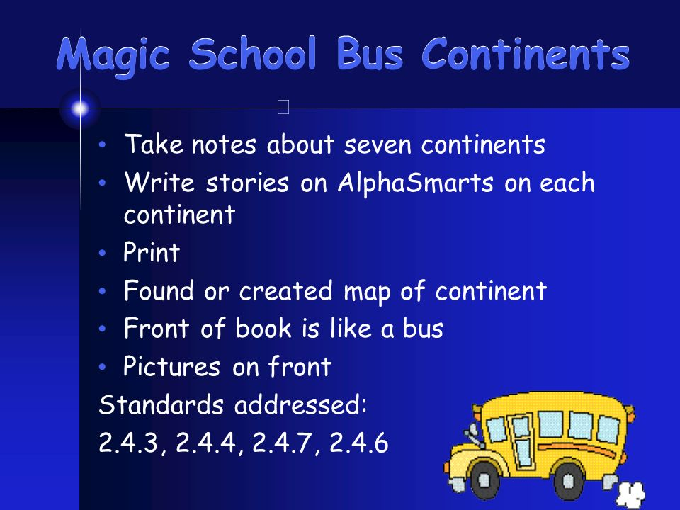 Magic School Bus Continents Take notes about seven continents Write stories on AlphaSmarts on each continent Print Found or created map of continent Front of book is like a bus Pictures on front Standards addressed: 2.4.3, 2.4.4, 2.4.7, 2.4.6