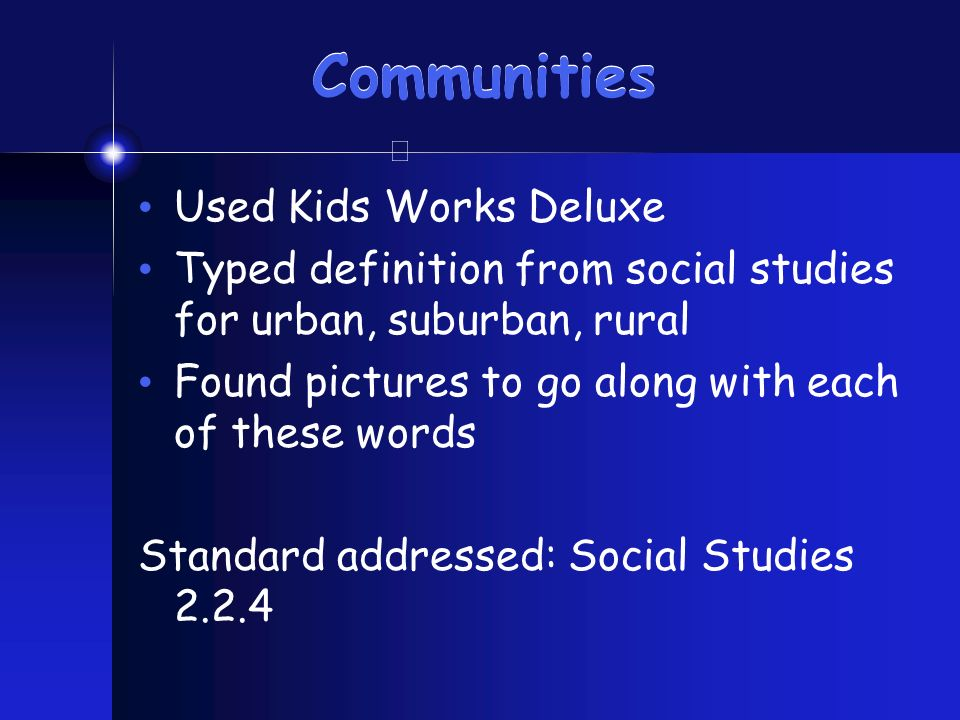 Communities Used Kids Works Deluxe Typed definition from social studies for urban, suburban, rural Found pictures to go along with each of these words