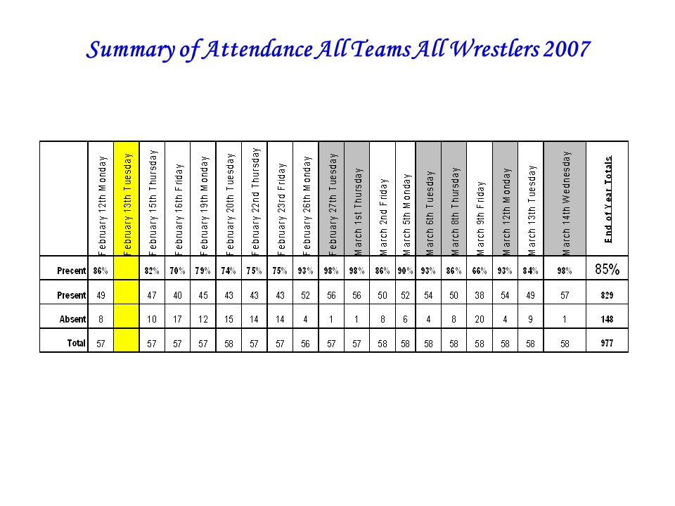 Summary of Attendance All Teams All Wrestlers 2007