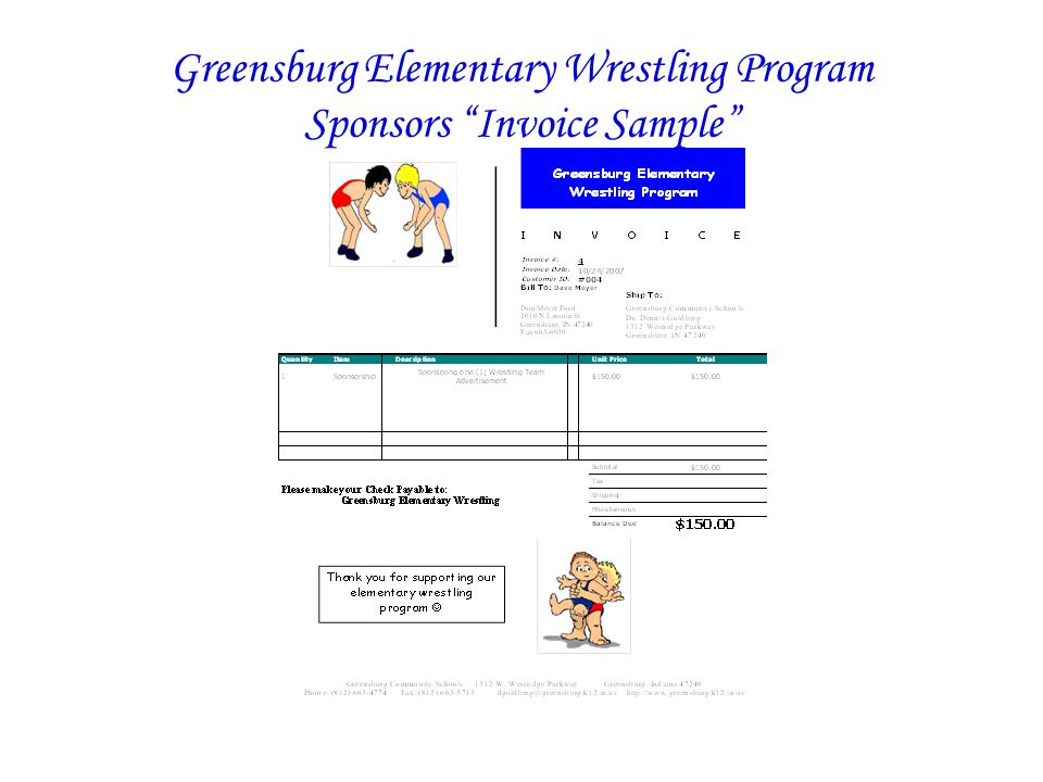 Greensburg Elementary Wrestling Program Sponsors Invoice Sample
