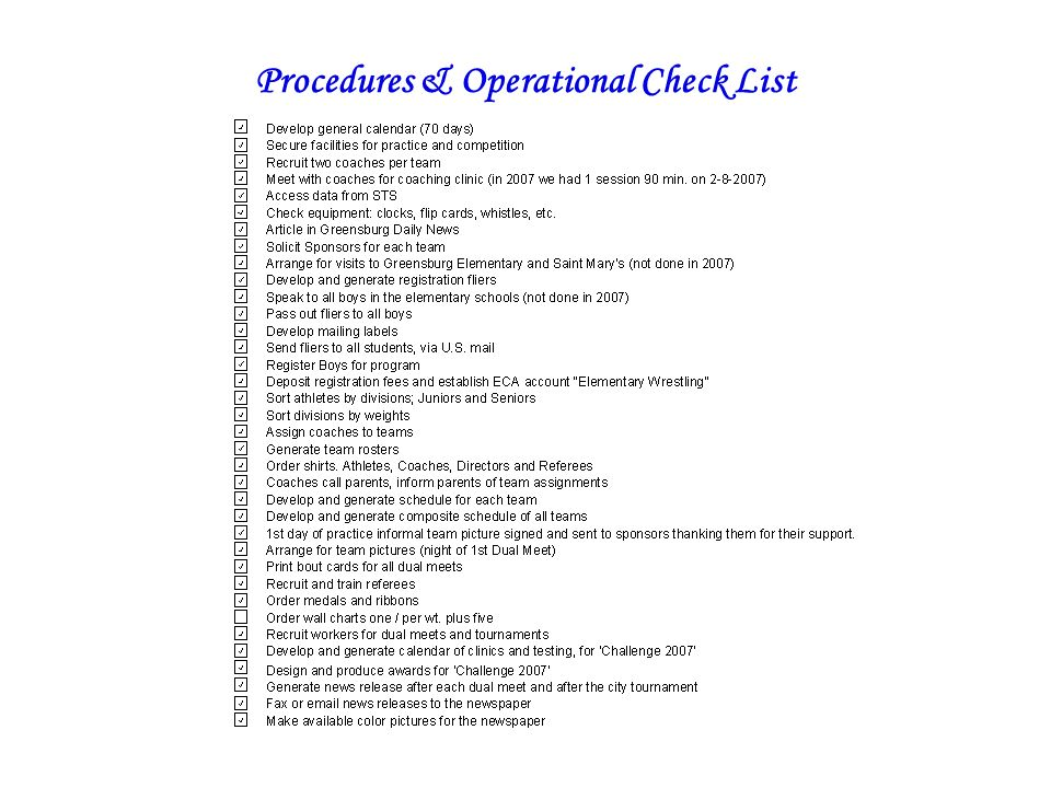 Procedures & Operational Check List