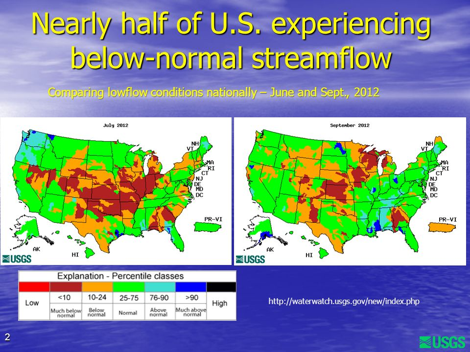 2 Nearly half of U.S. experiencing below-normal streamflow http://waterwatch.usgs.gov/new/index.php Comparing lowflow conditions nationally – June and