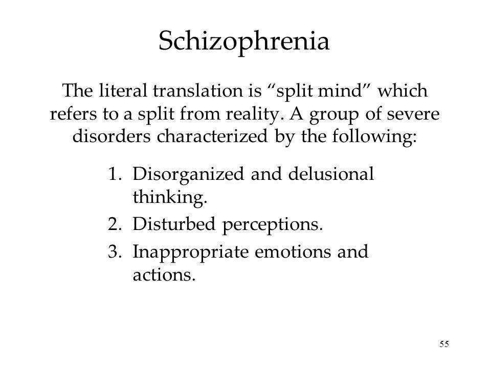 55 Schizophrenia The literal translation is split mind which refers to a split from reality. A group of severe disorders characterized by the followin