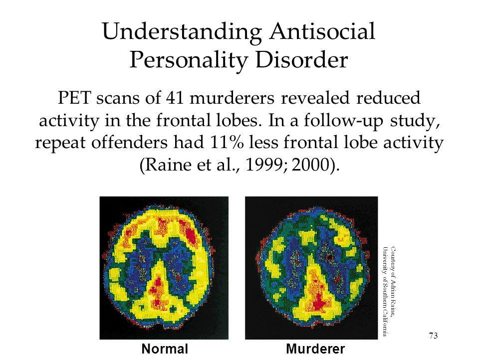 73 Understanding Antisocial Personality Disorder PET scans of 41 murderers revealed reduced activity in the frontal lobes. In a follow-up study, repea