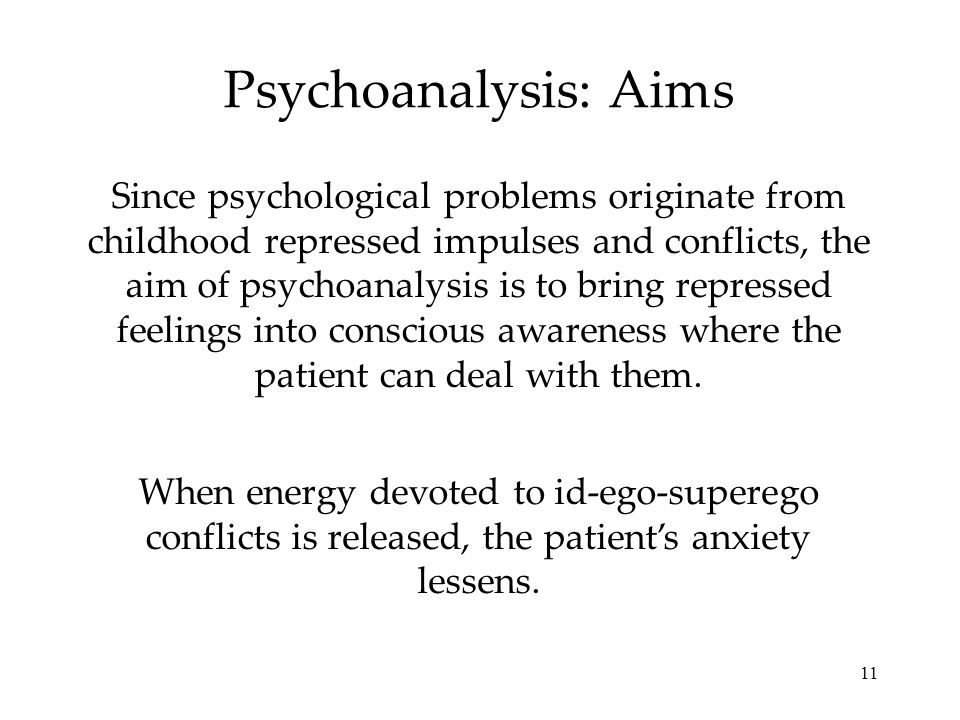 11 Psychoanalysis: Aims Since psychological problems originate from childhood repressed impulses and conflicts, the aim of psychoanalysis is to bring