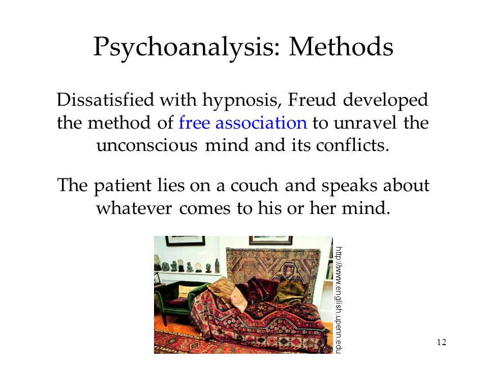 12 Psychoanalysis: Methods Dissatisfied with hypnosis, Freud developed the method of free association to unravel the unconscious mind and its conflict