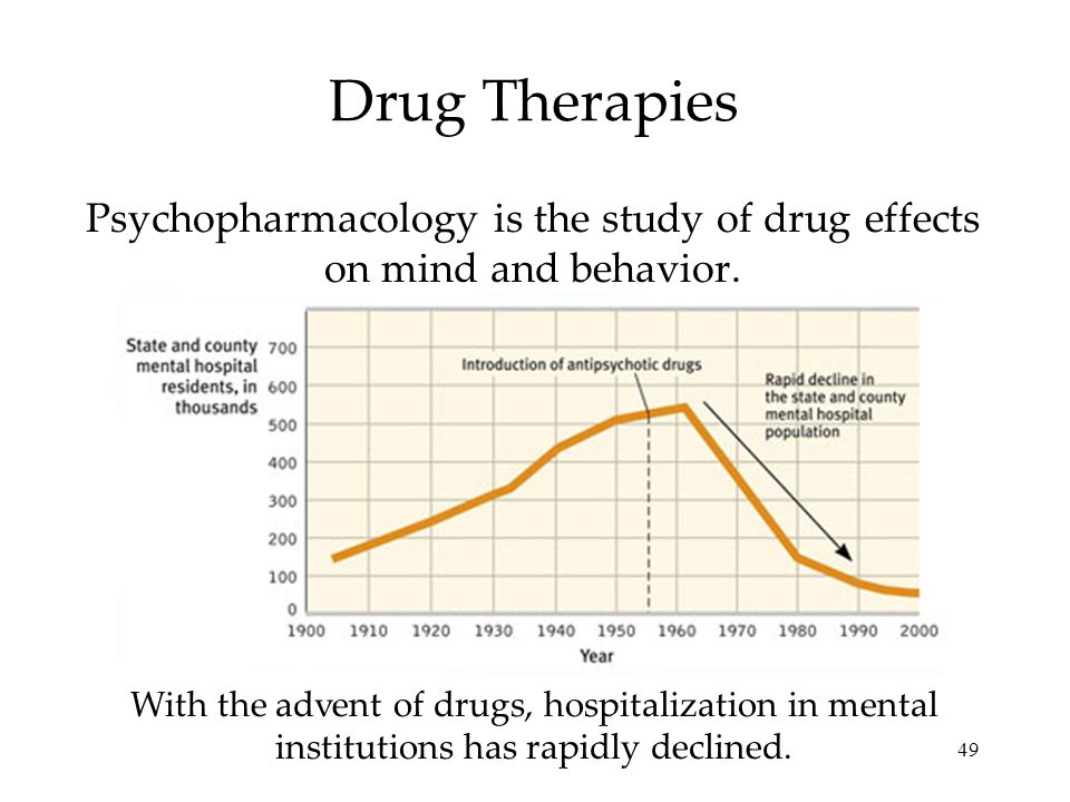 49 Drug Therapies Psychopharmacology is the study of drug effects on mind and behavior. With the advent of drugs, hospitalization in mental institutio