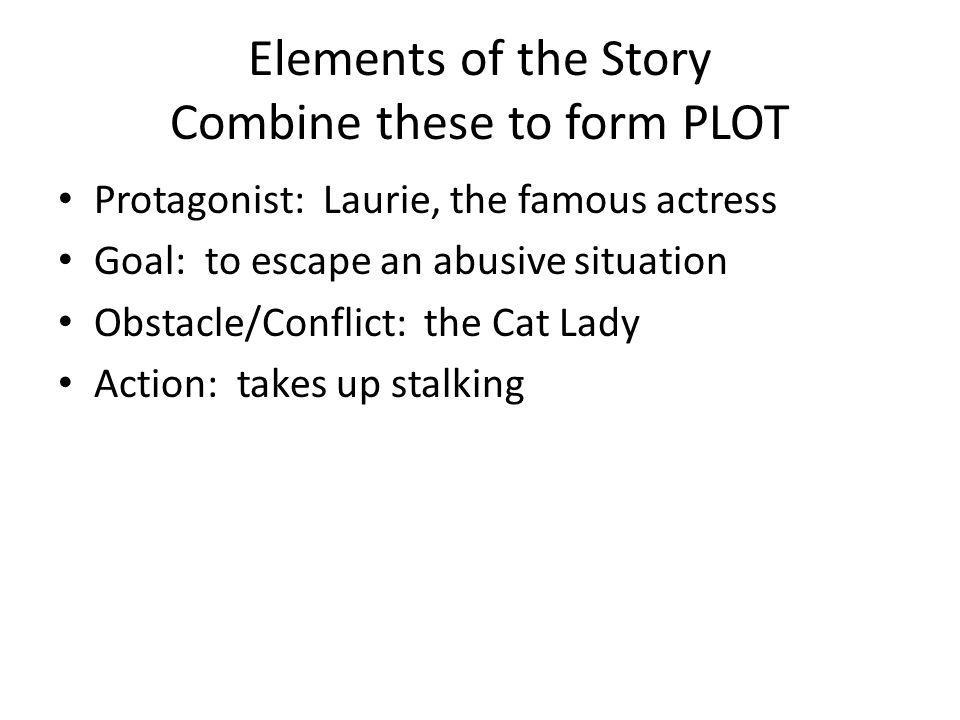 Elements of the Story Combine these to form PLOT Protagonist: Laurie, the famous actress Goal: to escape an abusive situation Obstacle/Conflict: the C