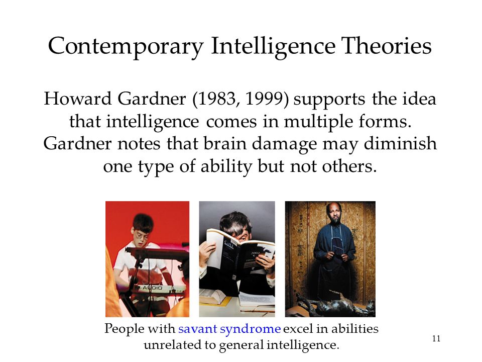 11 Contemporary Intelligence Theories Howard Gardner (1983, 1999) supports the idea that intelligence comes in multiple forms. Gardner notes that brai