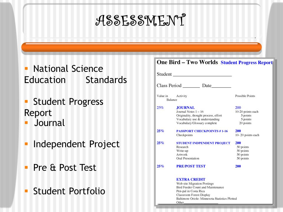ASSESSMENT National Science Education Standards Student Progress Report Journal Student Portfolio Independent Project Pre & Post Test