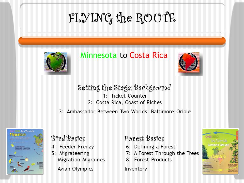 FLYING the ROUTE Setting the Stage: Background 1: Ticket Counter 2: Costa Rica, Coast of Riches 3: Ambassador Between Two Worlds: Baltimore Oriole Bird Basics 4: Feeder Frenzy 5: Migrateering Migration Migraines Avian Olympics Forest Basics 6: Defining a Forest 7: A Forest Through the Trees 8: Forest Products Inventory Minnesota to Costa Rica