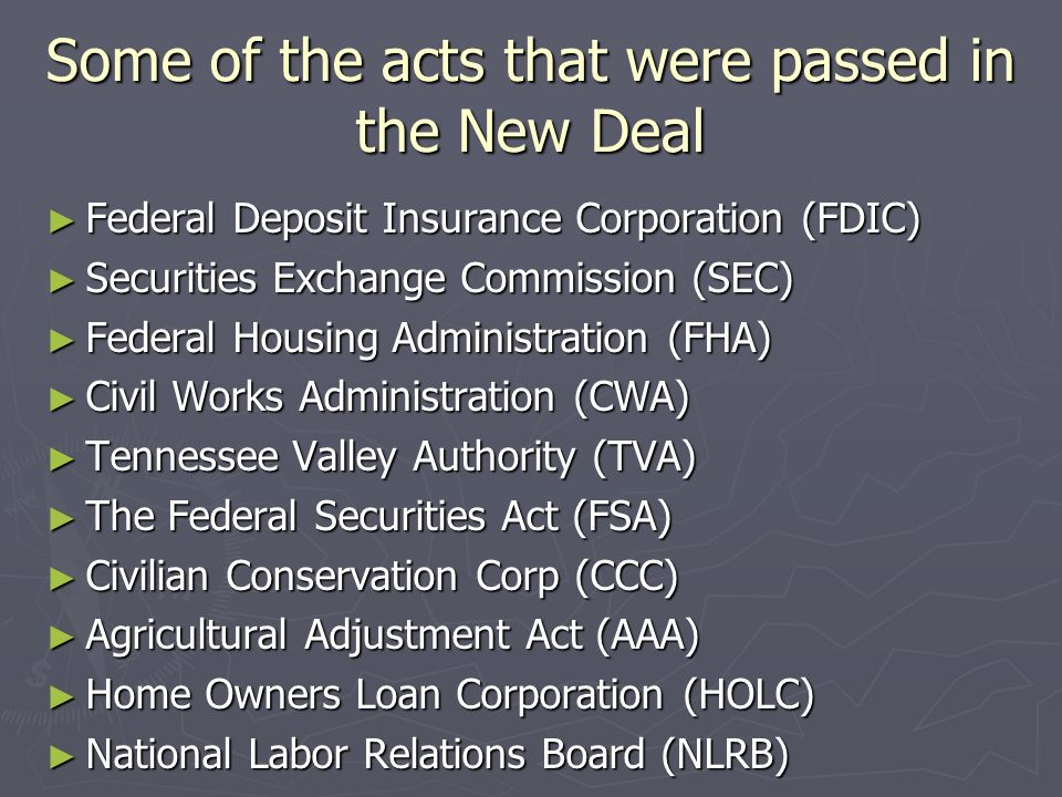 Some of the acts that were passed in the New Deal Federal Deposit Insurance Corporation (FDIC) Federal Deposit Insurance Corporation (FDIC) Securities Exchange Commission (SEC) Securities Exchange Commission (SEC) Federal Housing Administration (FHA) Federal Housing Administration (FHA) Civil Works Administration (CWA) Civil Works Administration (CWA) Tennessee Valley Authority (TVA) Tennessee Valley Authority (TVA) The Federal Securities Act (FSA) The Federal Securities Act (FSA) Civilian Conservation Corp (CCC) Civilian Conservation Corp (CCC) Agricultural Adjustment Act (AAA) Agricultural Adjustment Act (AAA) Home Owners Loan Corporation (HOLC) Home Owners Loan Corporation (HOLC) National Labor Relations Board (NLRB) National Labor Relations Board (NLRB)