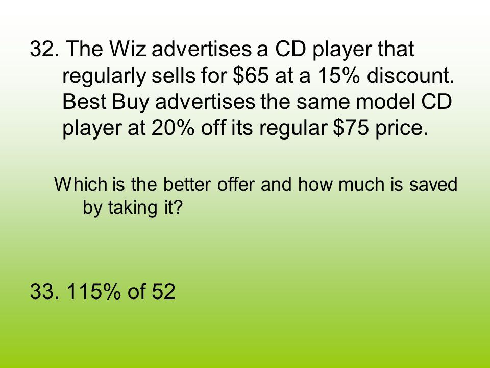 32. The Wiz advertises a CD player that regularly sells for $65 at a 15% discount.
