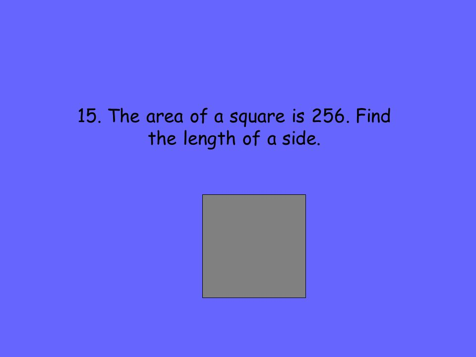 15. The area of a square is 256. Find the length of a side.