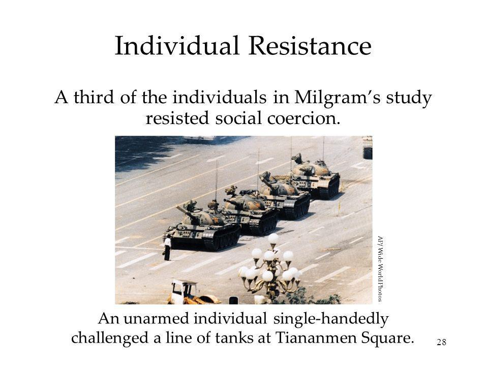 28 Individual Resistance A third of the individuals in Milgrams study resisted social coercion.