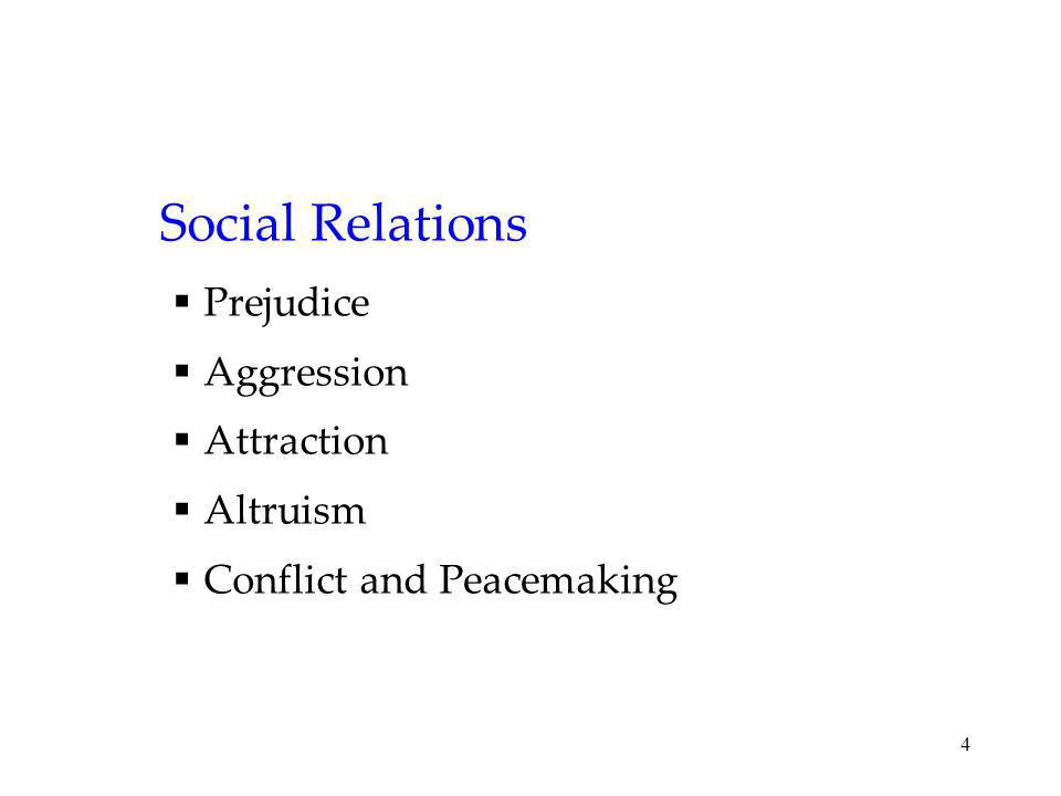 4 Social Relations Prejudice Aggression Attraction Altruism Conflict and Peacemaking
